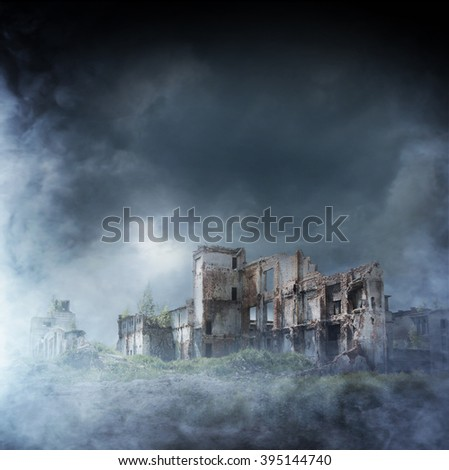 Apocalyptic ruins of the city. Disaster effect. - stock photo