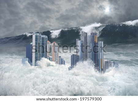 Apocalyptic scene of modern city's skyscrapers submerged by tsunami with a giant second wave coming - stock photo
