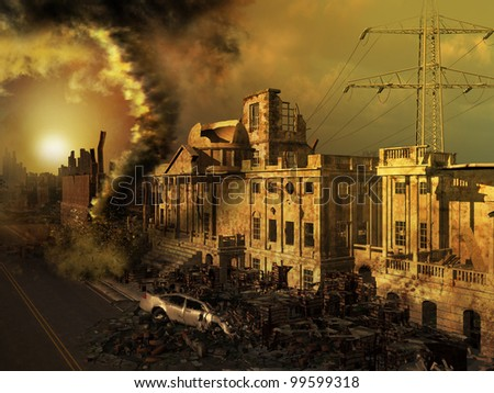 Apocalyptic scenery with ruined buildings and cars - stock photo