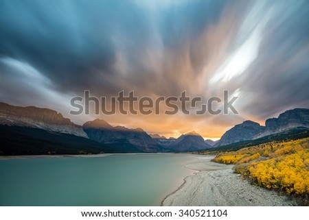 Apocalyptic sunset in Glacier National Park