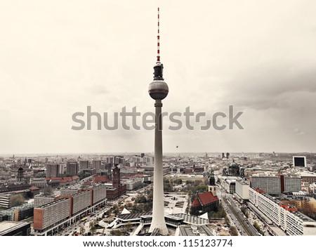 Apocalyptic View of Berlin Skyline - stock photo