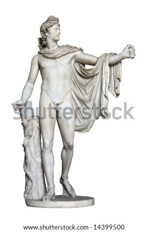 Apollo Belvedere statue isolated on white. This sculpture is marble copy of lost bronze original made by Greek sculptor Leochares.  Exposed in Vatican Museum, Rome, Italy.