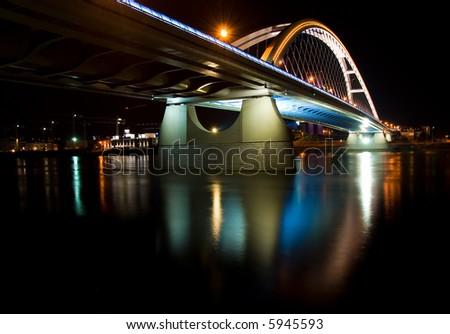 Apollo bridge in Bratislava in Slovakia in the night - stock photo