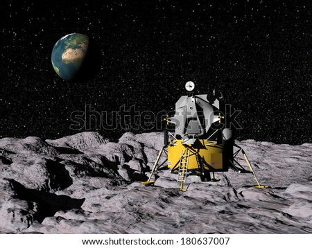 Apollo on moon surface, earth in the background - Elements of this image furnished by NASA