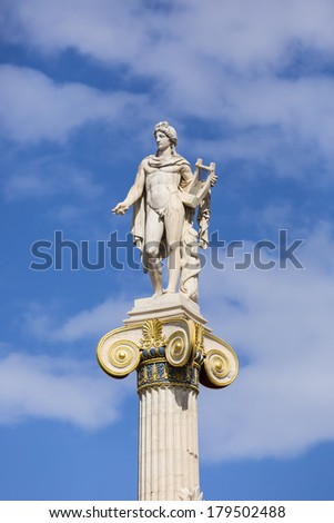 Apollo statue from the Academy of Athens ,Greece  - stock photo