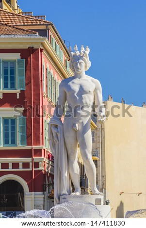 Apollo statue, is the main composition of the fountain du Soleil, on the Place Massena in Nice, France.