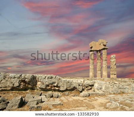 Apollo Temple at the Acropolis of Rhodes, Greece - stock photo