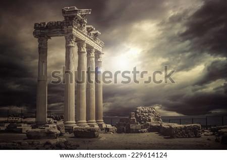 Apollo Temple Ruins -Antalya-Turkey - stock photo