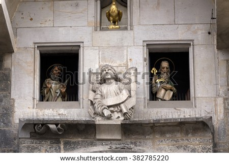 Apostles on Historical medieval astronomical Clock in Prague on Old Town Hall , Czech Republic - stock photo