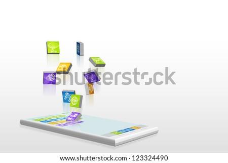 App flow on smartphone - 3D illustration - stock photo