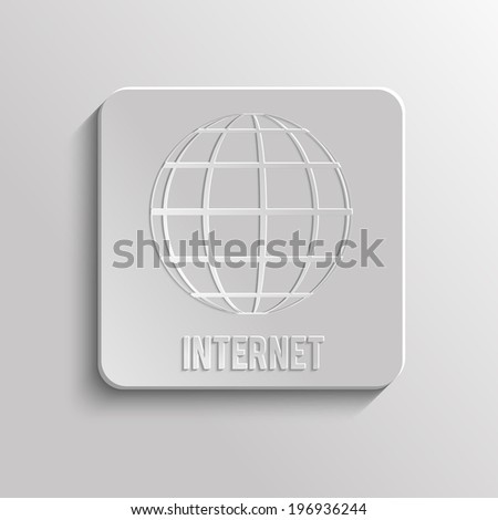 App icon of Internet. A sphere from strips the symbolizing Internet. Internet browser. 3d Earth. Raster version - stock photo