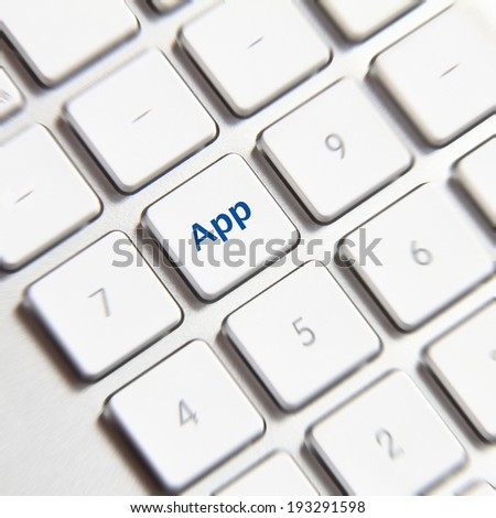 App icon on white keyboard button