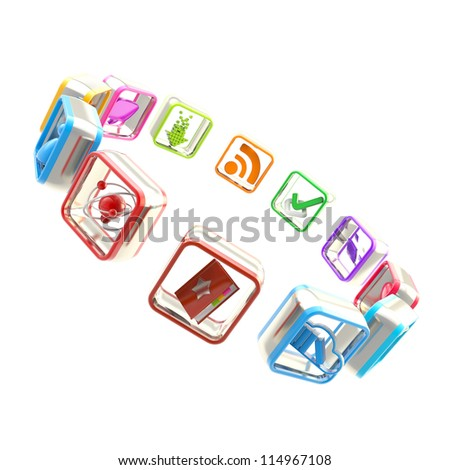 App market: round copyspace frame emblem made of symbolic mobile application colorful plastic icons circled isolated on white background