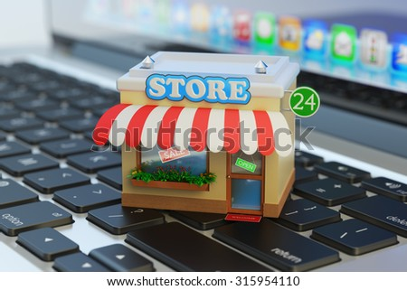 App store, internet market, online home shopping and e-commerce concept, shop building on computer laptop keyboard macro view - stock photo
