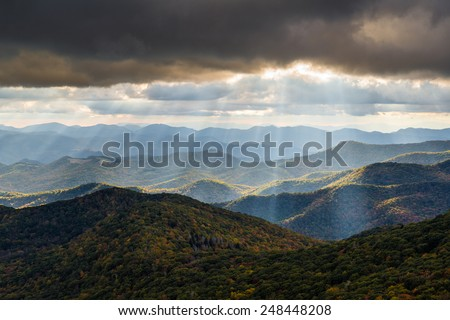 Appalachian Mountain landscape in Western North Carolina Blue Ridge Parkway autumn outdoor scenic photography - stock photo