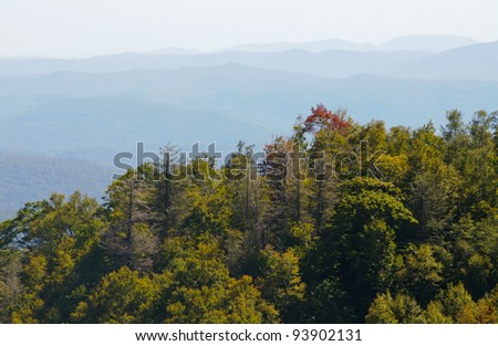 Appalachian Mountains along the Blue Ridge Parkway - stock photo