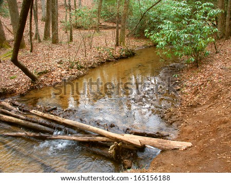 Appalachian Trail crosses a small stream in Georgia - stock photo