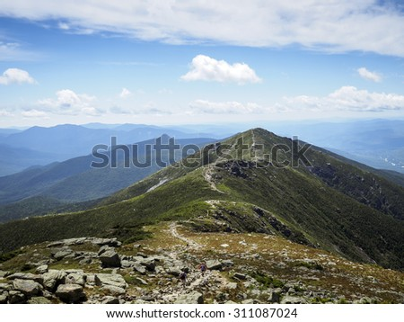 Appalachian Trail on sunny day, White Mountains Franconia Ridge, New Hampshire - stock photo