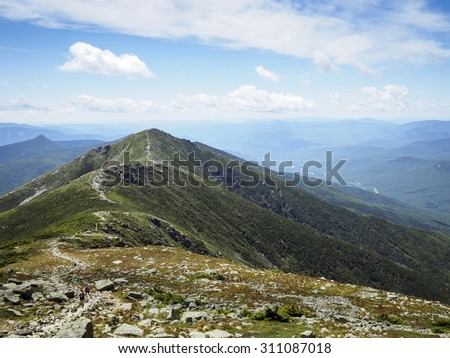 Appalachian Trail, White Mountains Franconia Ridge, New Hampshire - stock photo