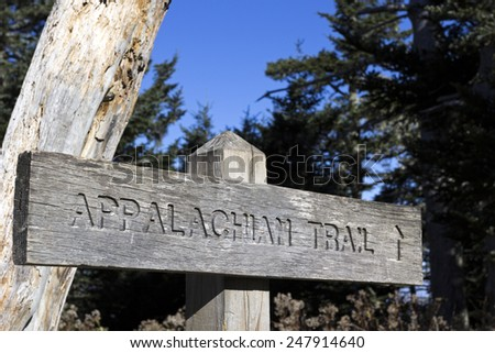Appalachian Trail wooden sign  - stock photo