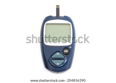 Apparatus for measuring the level of sugar in the blood with the test strip - stock photo