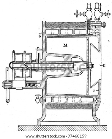 """apparatus for the pasteurization of milk by Lefeld and Lunch - an illustration to article """"Milk"""" of the encyclopedia publishers Education, St. Petersburg, Russian Empire, 1896 - stock photo"""