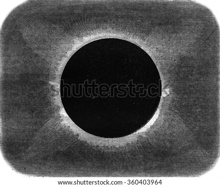 Appearance of the projections of the Sun during the total eclipse of August 18, 1868, in the peninsula of Malacca, vintage engraved illustration. Magasin Pittoresque 1869. - stock photo
