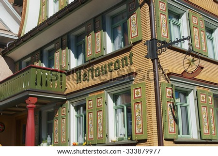 APPENZELL, SWITZERLAND - SEPTEMBER 29, 2007: Exterior of the traditional Swiss building in Appenzell, Switzerland.