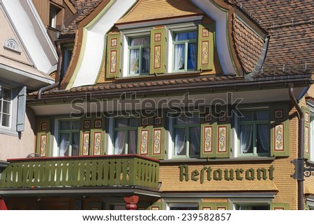 APPENZELL, SWITZERLAND - SEPTEMBER 29, 2007: Traditional Appenzell building exterior on September 29, 2007 in Appenzell, Switzerland.