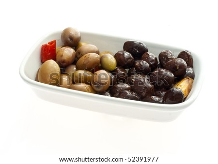 Appetizer of black and white olives
