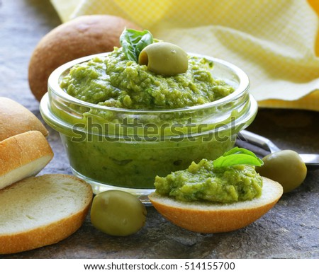 appetizer of marinated olive tapenade, traditional dip