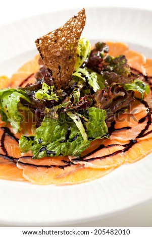 Appetizer - Salmon Carpaccio with Salad Mix