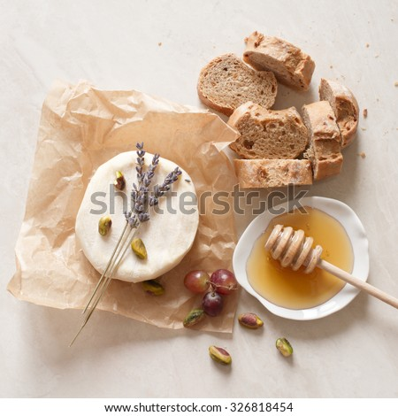 appetizer wine cheese bread and honey - stock photo