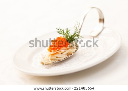 appetizer with caviar - stock photo