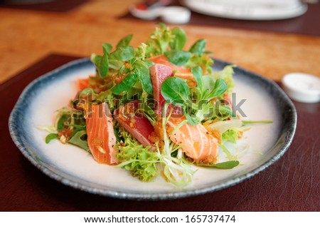 Appetizer with rare fried tuna and salmon in plate, asian style