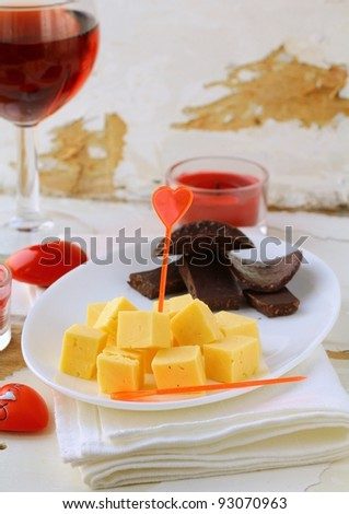 appetizers canapes cheese  for Valentine's Day
