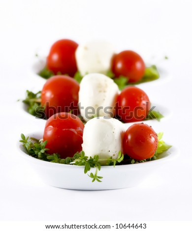 Appetizers with cherry tomatoes and mozzarella garnished with watercress salad and olive oil - stock photo