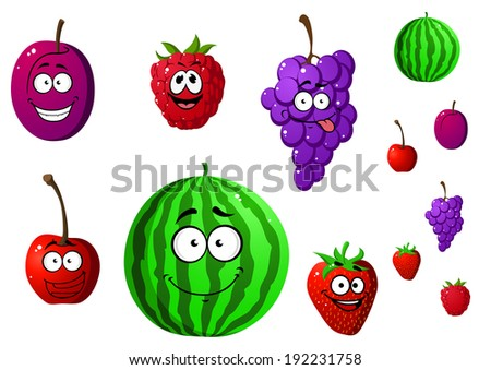 Appetizing berries and fruits set isolated on white background. Watermelon, raspberry, cherry, plum, strawberry, grape. Cartoon style. Vector version also available in gallery - stock photo