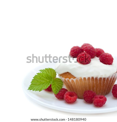 appetizing cake with raspberries, isolated on white