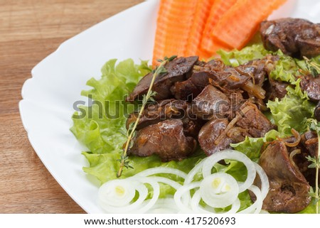 Appetizing chicken liver cooked with onions, lettuce and spices