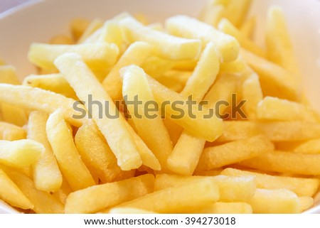 appetizing french fries potatoes, selective focus - stock photo