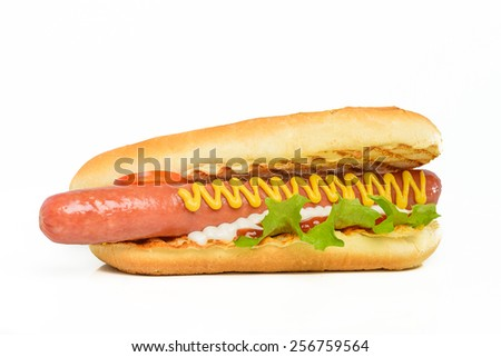 Appetizing hot dog flavored with mustard isolated on white