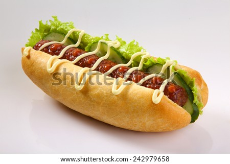 Appetizing hotdog isolated on white background. King size hotdog. - stock photo