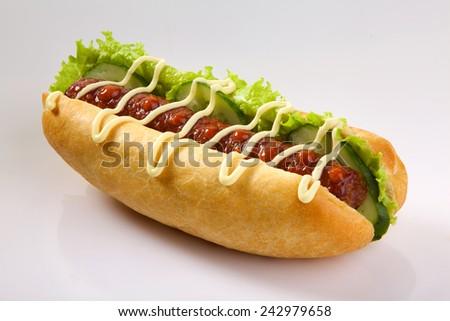 Appetizing hotdog isolated on white background. King size hotdog. - stock photo