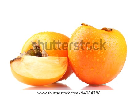 Appetizing persimmons with droplets isolated on white - stock photo