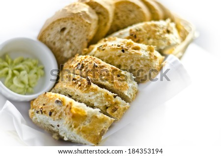 appetizing pieces of bread loaf on a white background