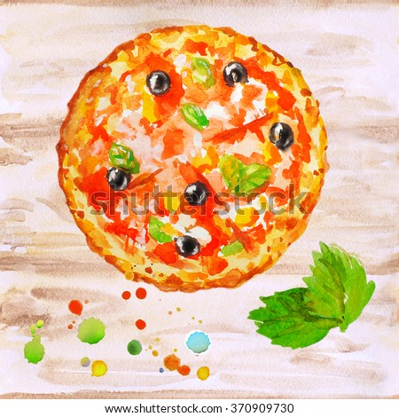 Appetizing pizza with vegetables, meats and cheese. Food, logo, template. For pattern, background, design menus, postcards, brochures. Isolated plate. Vegetarian healthy food. Appetizing food.
