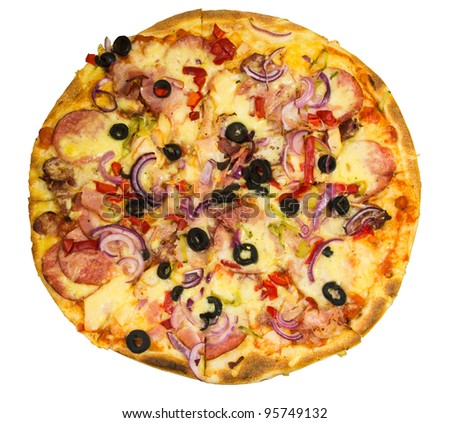 appetizing round pizza with bacon salami and onions