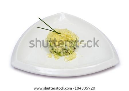appetizing salad appetizer with mayonnaise isolated on white background - stock photo