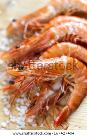 appetizing shrimps with copy space - stock photo